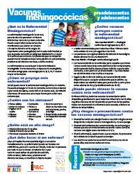 Folleto educativo sobre la vacuna contra el meningococo en español