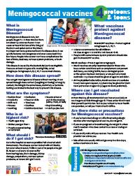 Folleto educativo sobre la vacuna antimeningocócica
