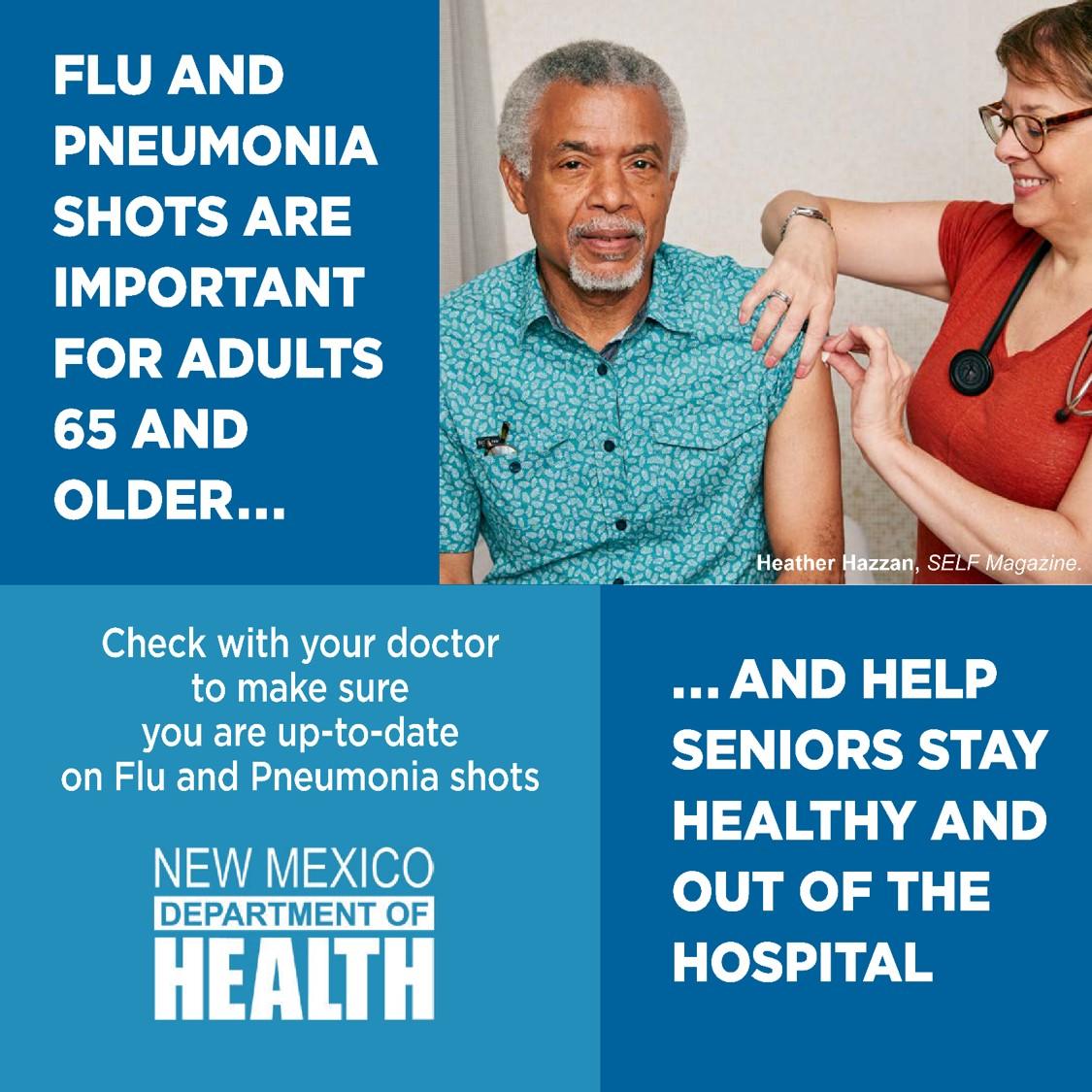 Las personas mayores necesitan gripe y neumonía