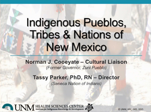 Коренные племена пуэбло, племена и народы Нью-Мексико: Норман Дж. Куейейт - культурный Лиасон, Тэсси Паркер, доктор философии, RN - директор