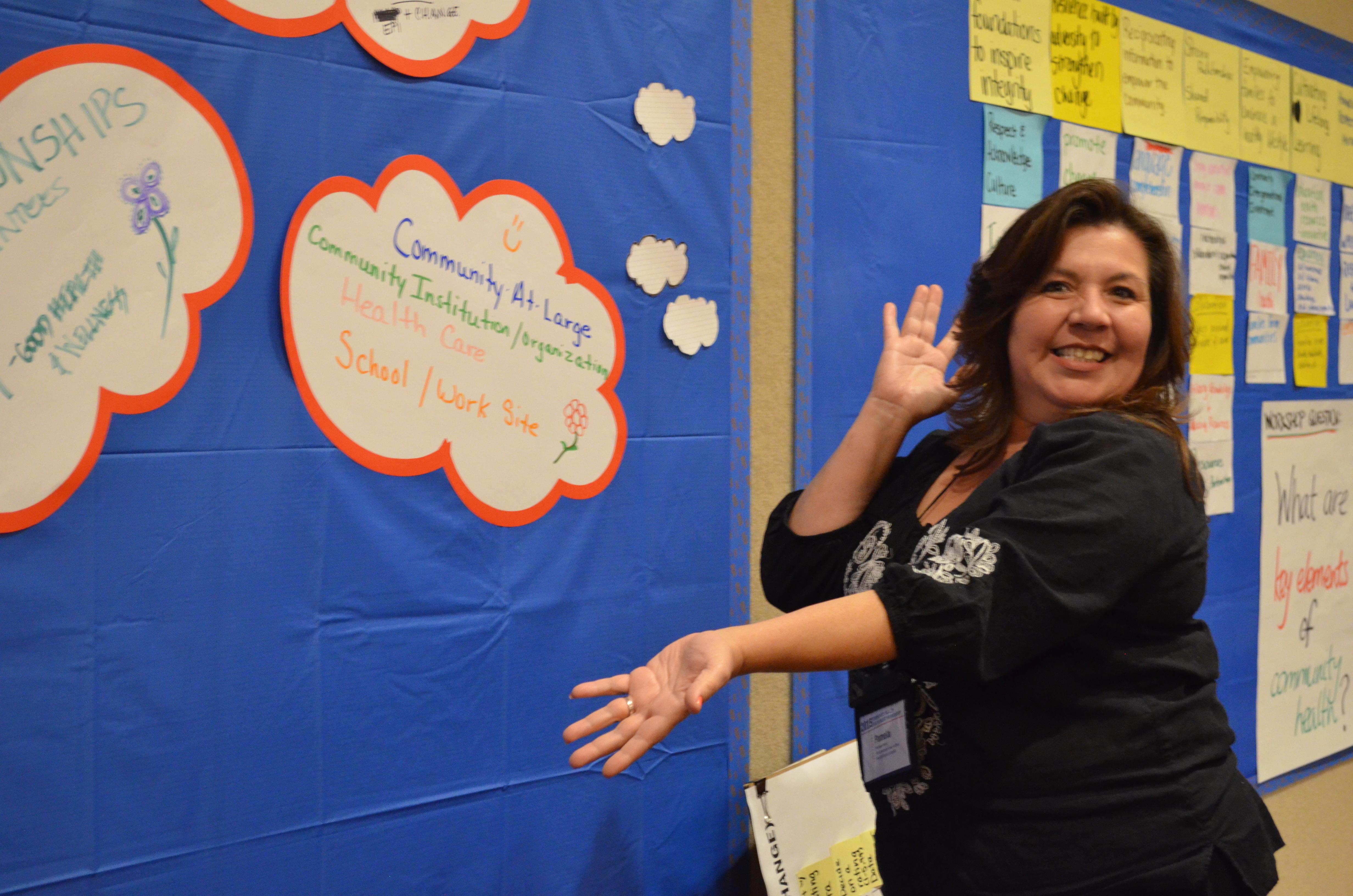 Mujer mostrando carteles en la pared.