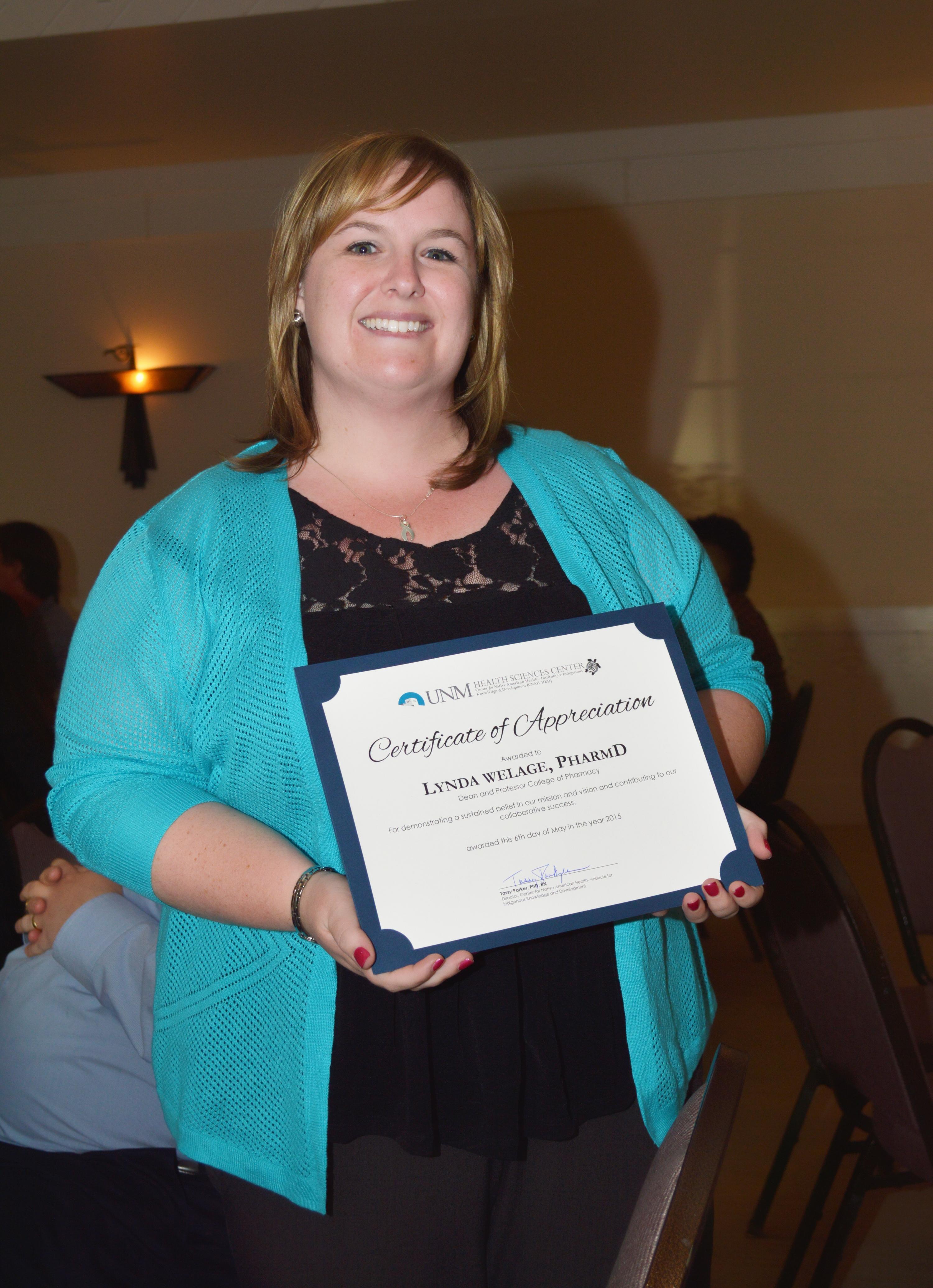 Certificado de tenencia de Lynda.