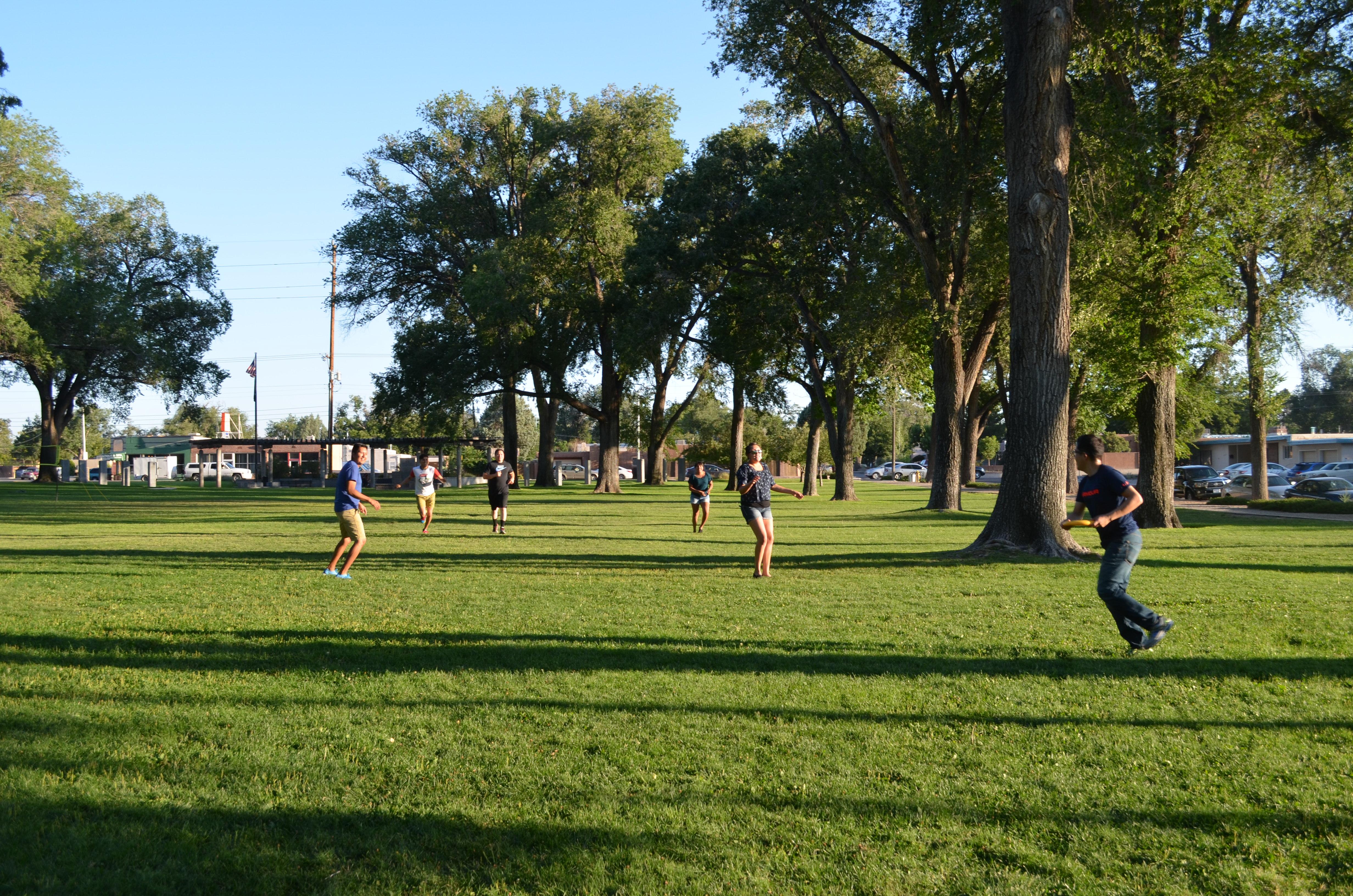 Les gens jouent au frisbee.