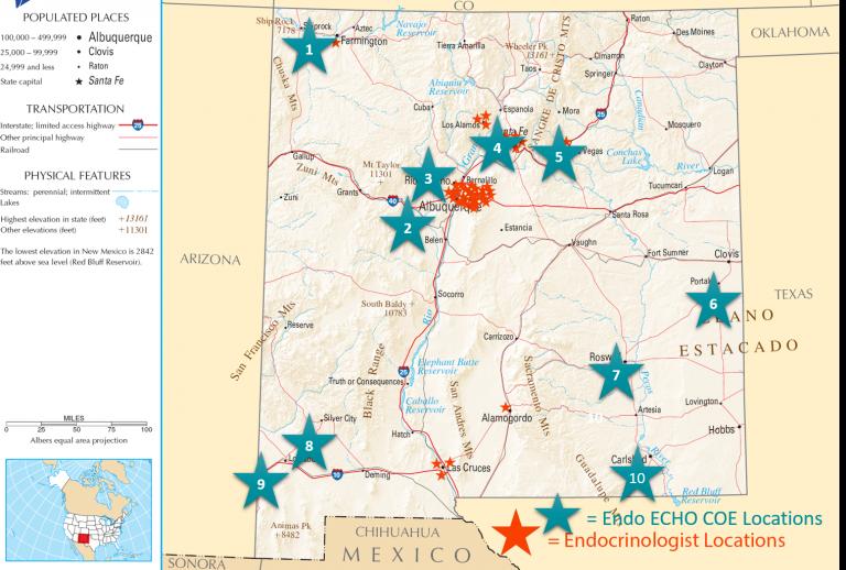 Mapa de ubicaciones de endocrinólogos en NM.