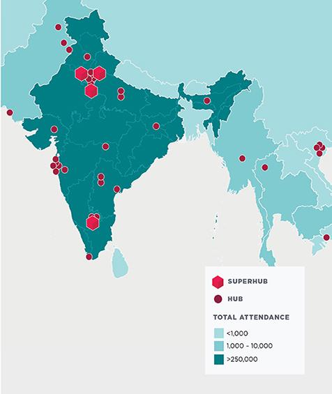 Mapa de la India con superhubs y hubs.