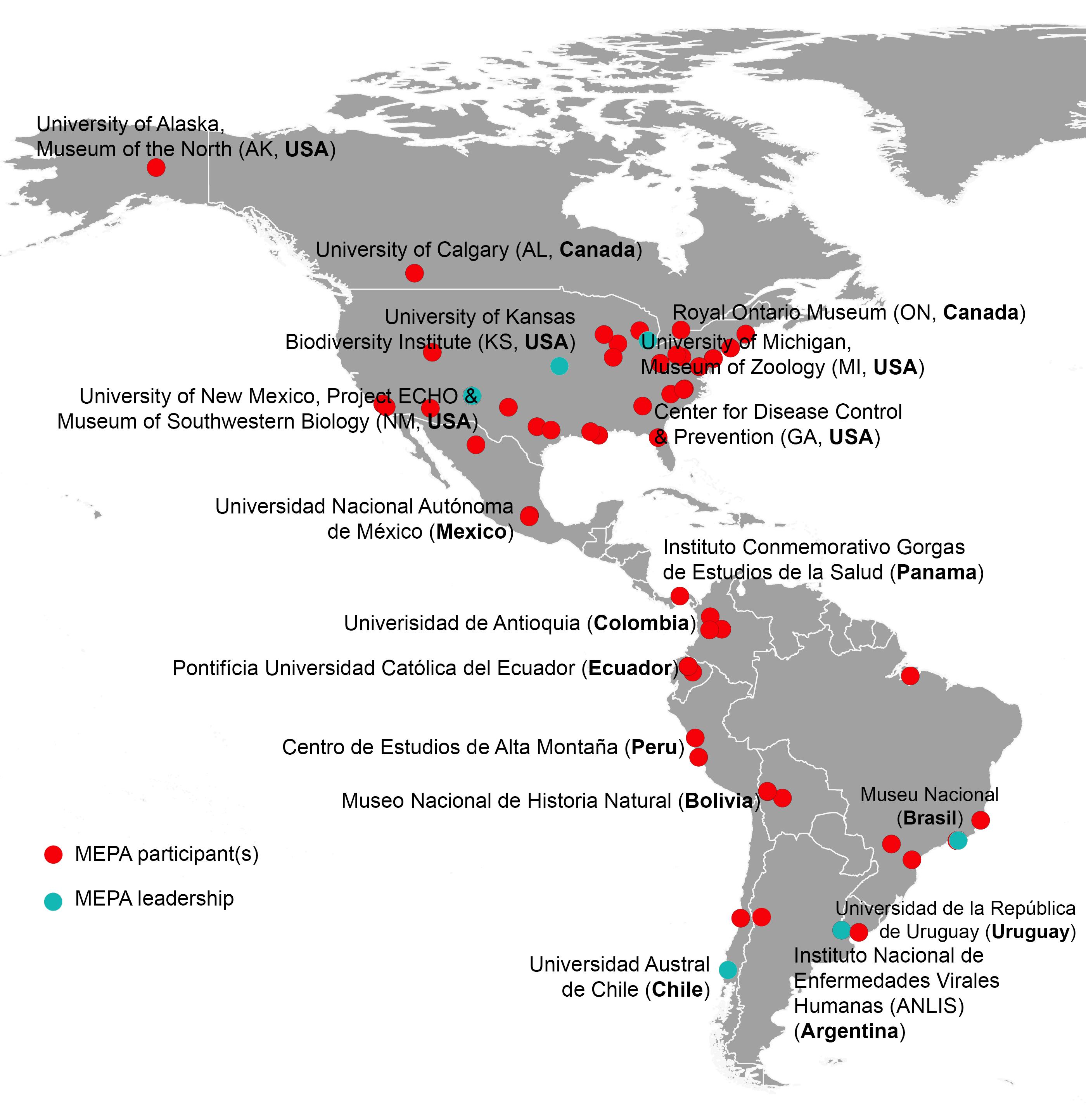 Թանգարաններ և զարգացող պաթոգեններ Ամերիկայի մայրցամաքներում մասնակից կազմակերպությունների քարտեզ