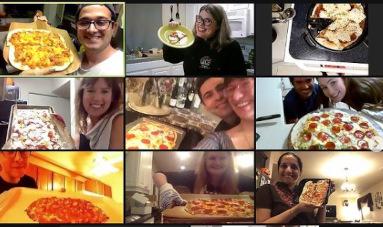 Virtuelle Pizzaparty.