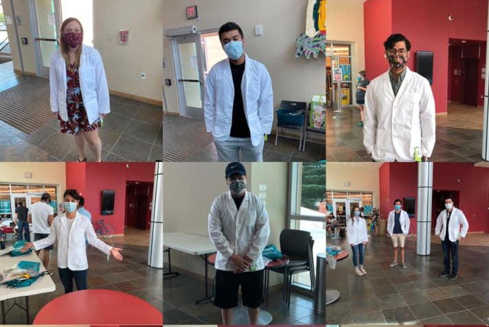 白衣を着た学生の会議ビュー。