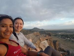 Pamela Lin and Arpita Sinha hiking