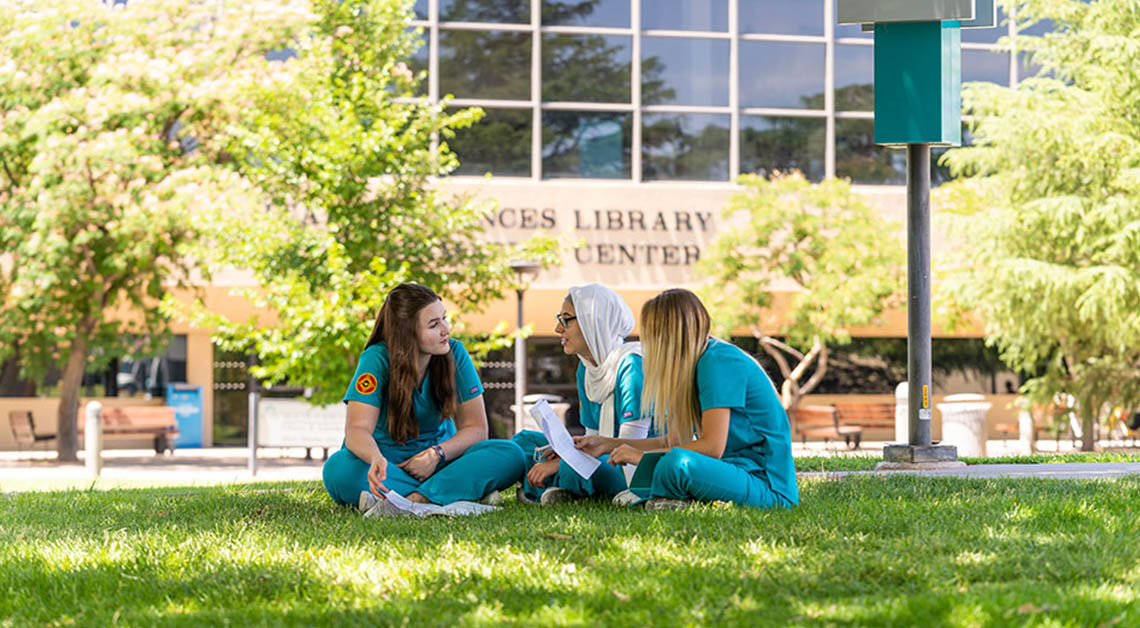 3 students studying on lawn