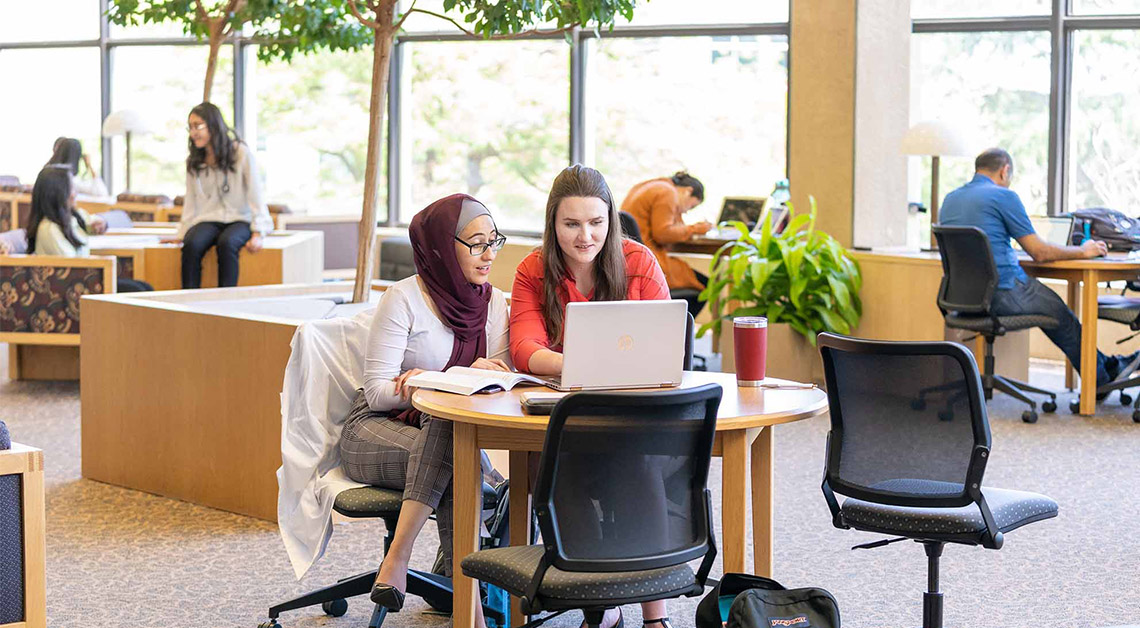 2 students studying at library table