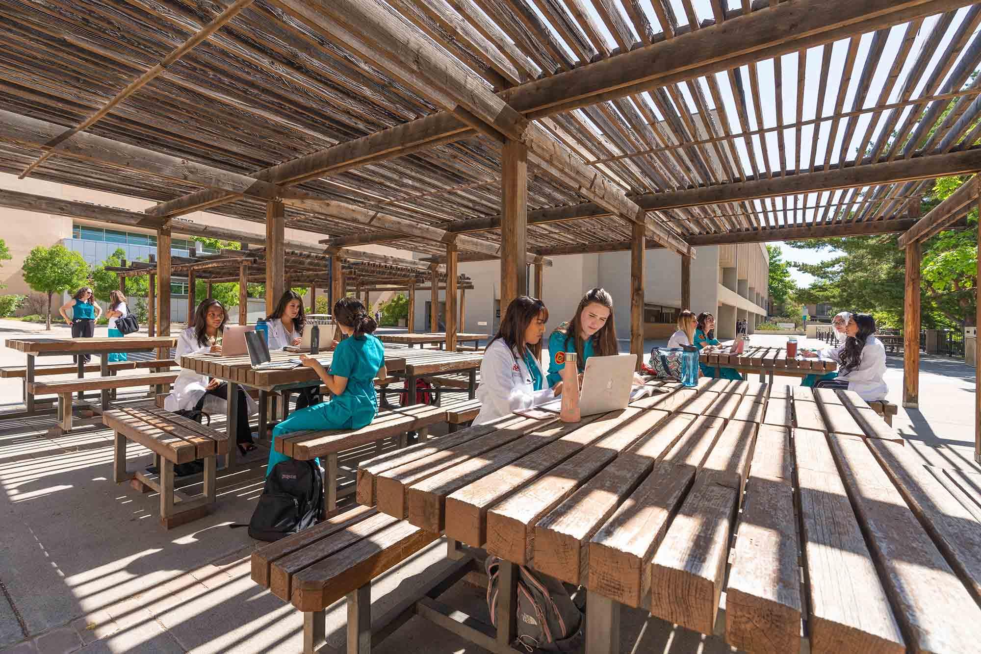 Estudiantes que estudian en mesas bajo pérgolas.