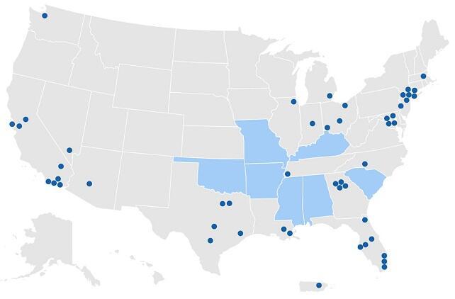 mapa de condados y estados