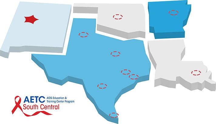 Mapa AETC de Nuevo México, Texas, Oklahoma, Arkansas y Luisiana