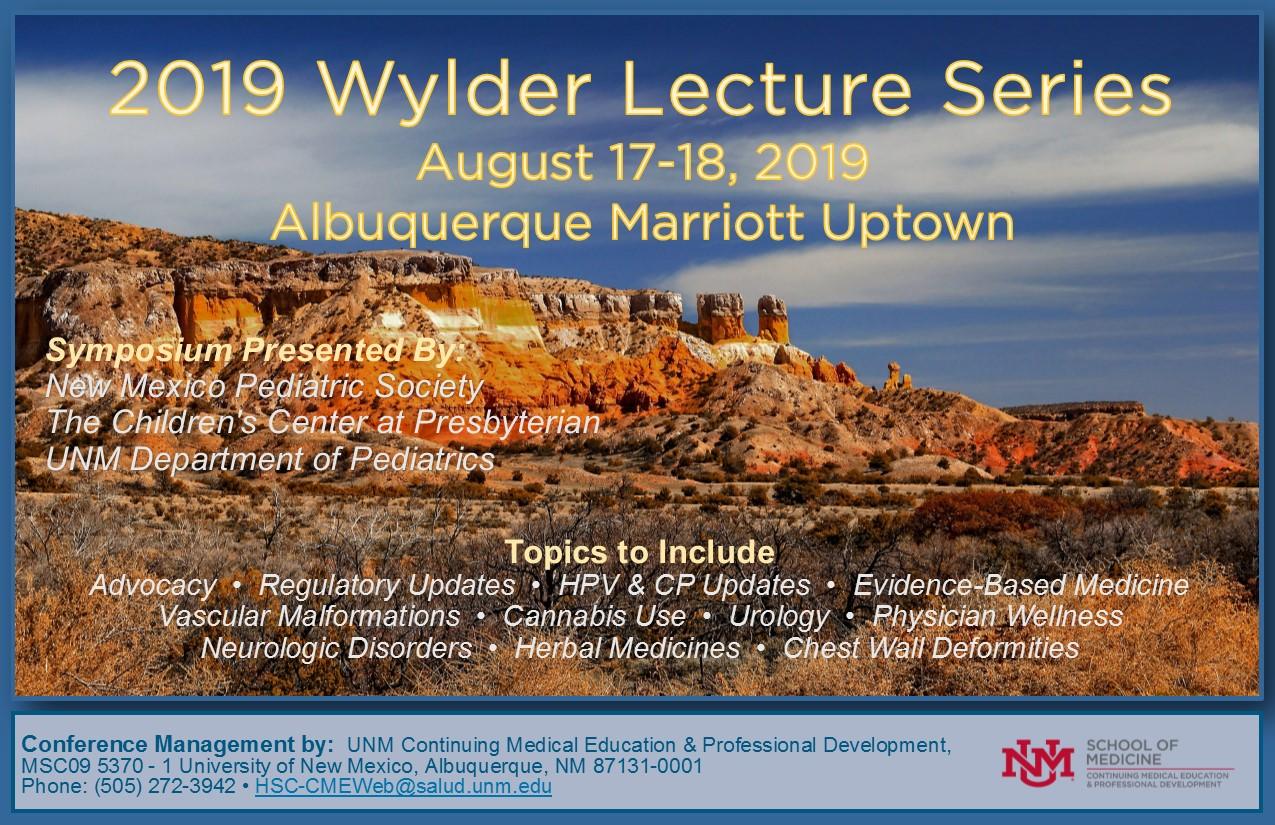 2019 Wylder Lecture Series :: | School of Medicine - Office