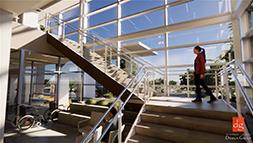 बड़ी खिड़कियों के बगल में सीढ़ियाँ।